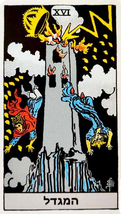 קלף טארוט המגדל - ריידר בעברית
