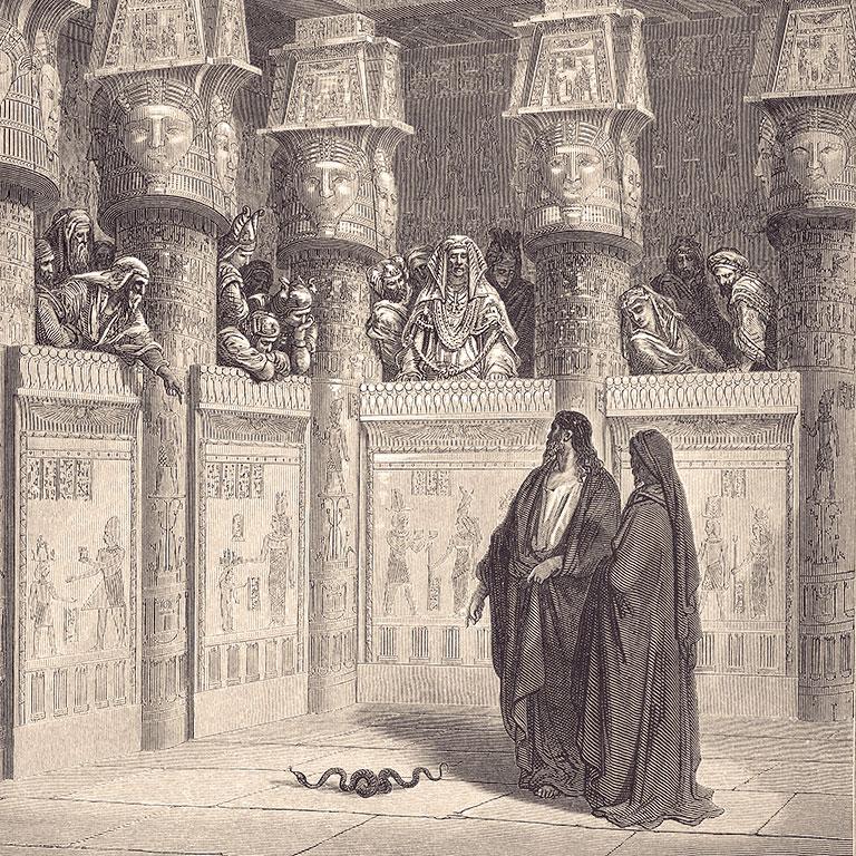 משה ואהרון ניצבים מול פרעה